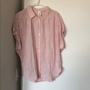 H&M Short-Sleeve Button-Down, Pink and White, 10